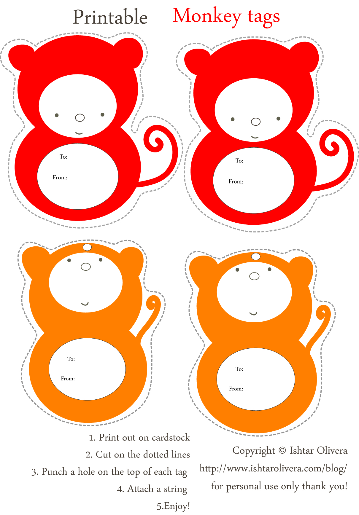 monkey tags para imprimir